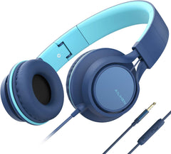 High-quality Headphones AILIHEN C8 Headphones with Microphone and Volume Control Folding Lightweight Headset for Cellphones Tablets Smartphones Laptop Computer PC Mp3/4 (Grey/Mint)