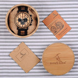 BOBO BIRD Wooden Mens Watches, Handmade natural wood material Stylish Wood & Stainless Steel Combined Chronograph Military Quartz Casual Wristwatches USA Imported Product