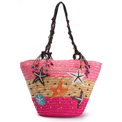 Summer Beach Coral Cane Straw Handmade Knitted Cute Shoulder Bag Handbag Tote - EY Shopping