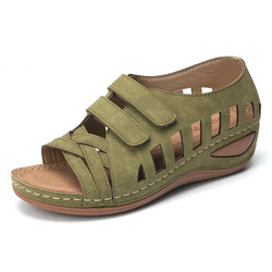 Lostisy Large Size Women Cross Belt Breathable Pure Color Sandals