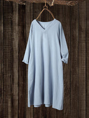 Women V-Neck Solid Color Cotton 3/4 Sleeve Nightdress Pajamas - EY Shopping