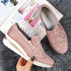 Large Size Women Casual Pointed Toe Hollow Slip On Wedges Loafers - EY Shopping