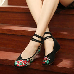 Big Size Women Mary Janes Chinese Embroidered Flower Flat Shoes Linen Loafers - EY Shopping