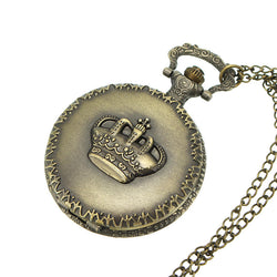 DEFFRUN Vintage Crown Retro Chain Quartz Analog Pocket Watch