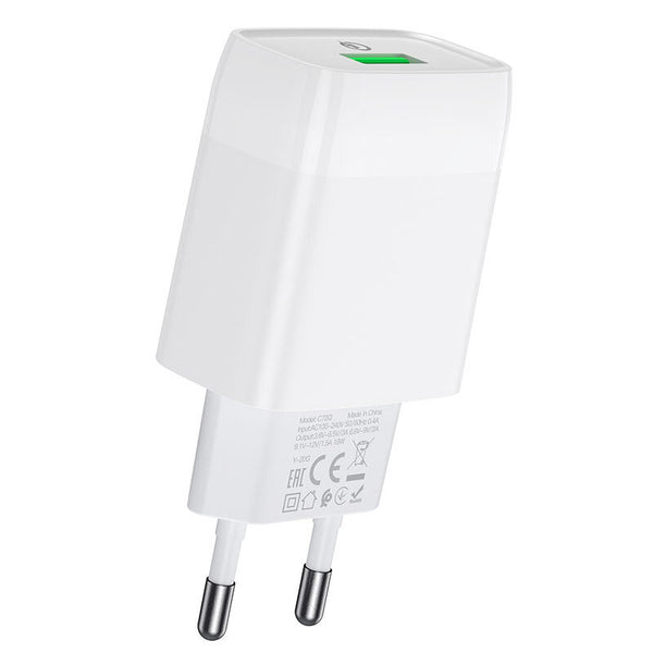 HOCO C72Q Quick Charge 3.0 Wall Charger 18W Single USB Fast Charging Adapter for Samsung S20 NOTE20 Xiaomi MI10 Redmi Note 9S OnePlus 8Pro