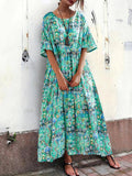 Bohemian Women Loose Floral Print O-Neck Short Sleeve Side Pockets Dress - EY Shopping