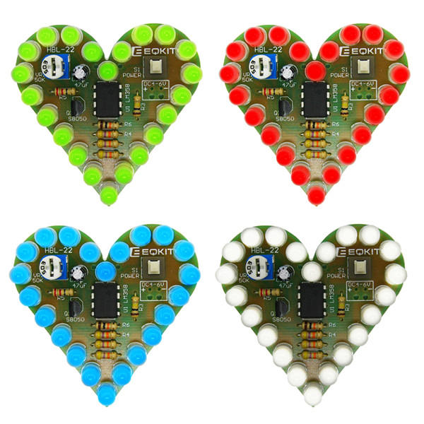 EQKIT Heart Shaped Light Kit DIY LED Flash Breathing Light Parts Red Green Blue White Color Optional