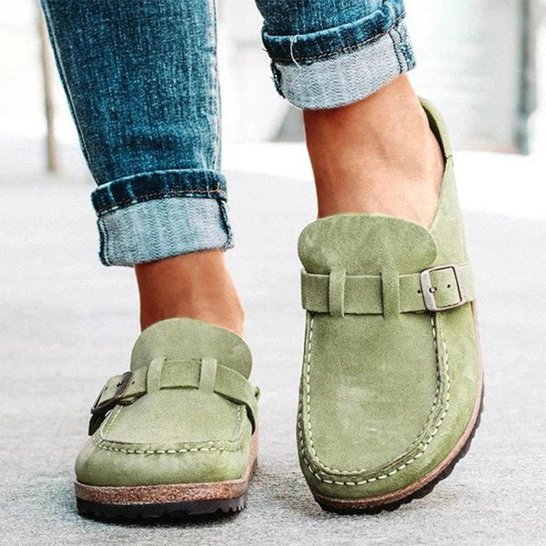 Women Casual Comfy Suede Large Size Round Toe Backless Flats - EY Shopping