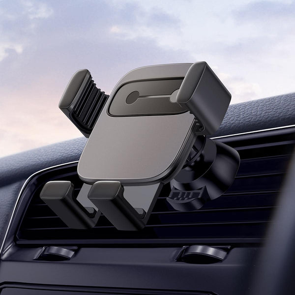 Baseus Metal Cube Gravity Linkage Automatic Lock Air Vent Car Phone Holder With 5 Emotion Stickers For 4.7-6.6 Inch Smart Phone