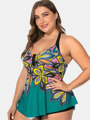 Plus Size Halter Printed Tops With Shorts Swimdress - EY Shopping