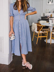 Casual Women V-neck Short Sleeve Buttons Midi Shirt Dress - EY Shopping