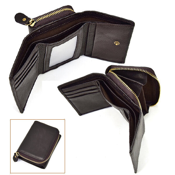 Men Women Trifold Genuine Leather Coin Bag 5 Slots Photo Slot Wallet