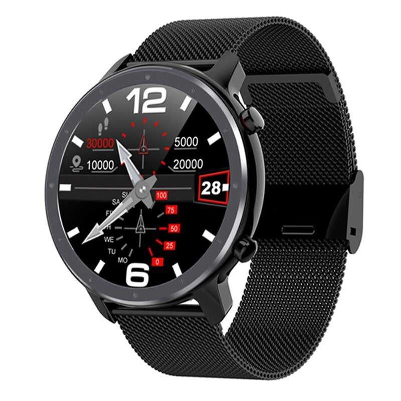 Bakeey L11 Business Style 1.3 inch Full Round Touch Screen ECG Heart Rate Blood Pressure Real-time Weather Temperature IP68 Smart Watch