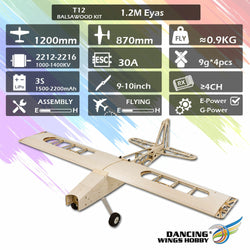 DW Dancing Wings Hobby T12 Balsawood 1200mm Wingspan Light Wood Electronic RC Airplane KIT/PNP