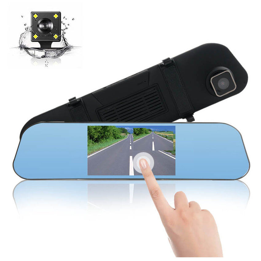 X600 Car DVR 1080P Night Vision 5 Inch with Touch Dual Lens Rearview Mirror Dash Cam Camera Video Recorder Auto Registrar Dashcam