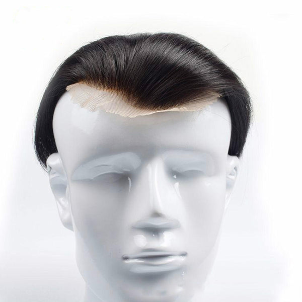 Men's Head Replacement  Cover White Hand-woven Real Hair Wig  Replacement Block