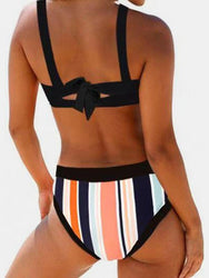 Plus Size Women Stripes High Waist Bikini Backless Swimwear - EY Shopping