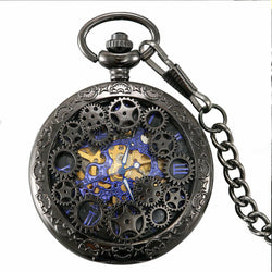 Deffrun Retro Style Black Pocket Watch Skeleton Mechanical Watch