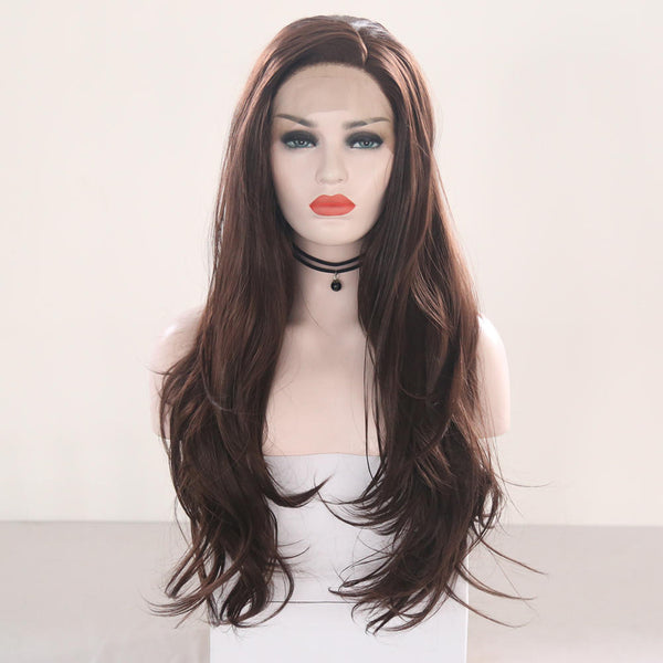 24 '' Brown Lace Front Wig   Long Synthetic Women's Wigs