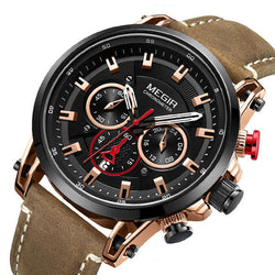 MEGIR 2085 Military Style Date Chronograph Multifunction Quartz Watch Fashion Men Wrist Watch