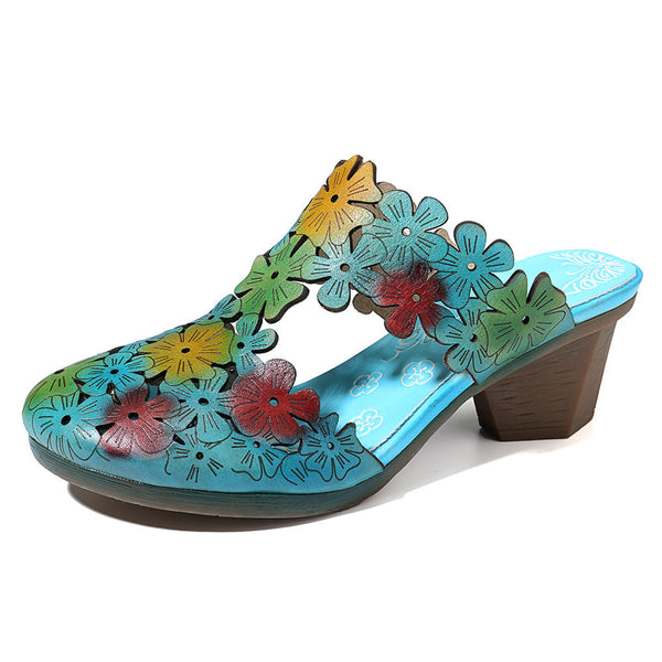 Socofy Large Size Women Hollow Out Floral Elegant Comfortable  Slippers