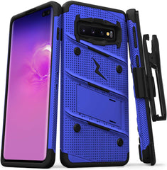 ZIZO New High Quality Bolt Series Galaxy S10 Plus Case Military Grade Drop Tested with Built in Kickstand Holster Blue Black USA Imported Product