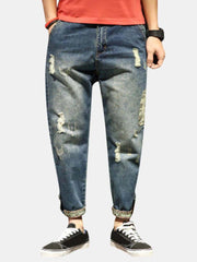 Mens Stylish Haren Pants Loose Holes Ripped Jeans - EY Shopping