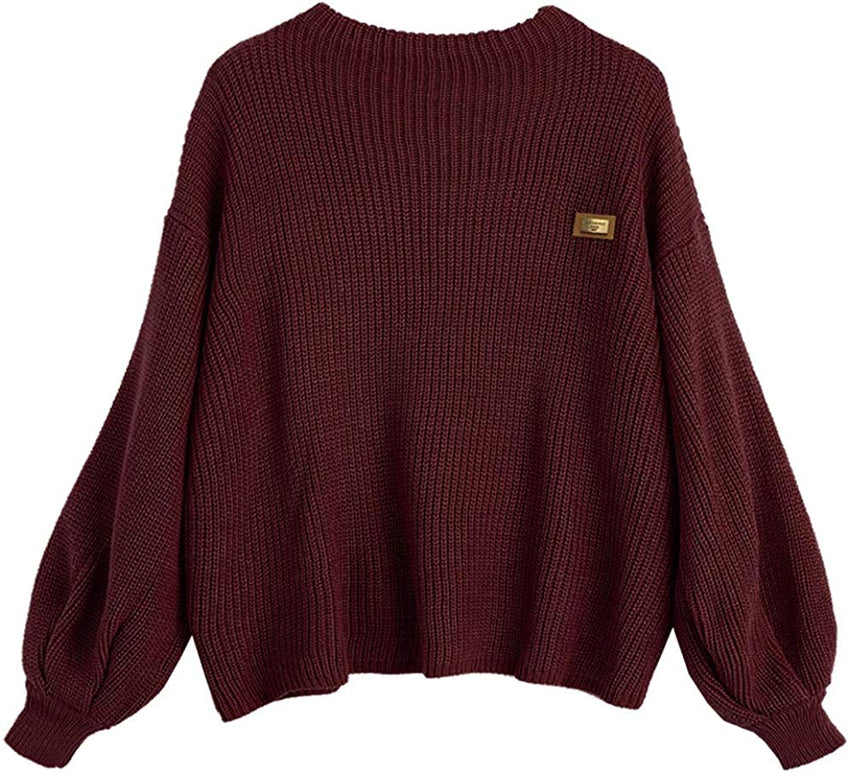 ZAFUL Women's Casual Loose Knitted Sweater Lantern Sleeve Crewneck women Fashion Pullover comfortable Sweater Tops USA Imported Product