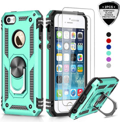 New Style Case Cover for iPhone LeYi iPhone se Case, iPhone 5s Case, iPhone 5 Case, Military Grade Armor Full-Body Hybrid Dual Layer Protective Phone Cover Case with 360 Degree Rotating Holder Kickstand for iPhone 5/5s/se JSFS Mint  USA Imported Product - EY Shopping