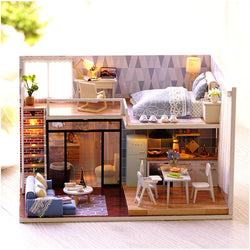 CuteRoom L-023 Blue Time  DIY House With Furniture Music Light Cover Miniature Model Gift Decor