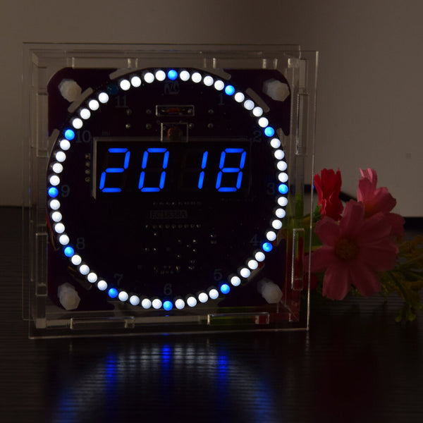 Geekcreit Fourth Generation DIY EC1838B DS1302 Light Control Rotation LED Electronic Clock Kit Music Alarm Clock With Housing