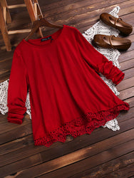 European American Style Women Lace Patchwork Solid Color T-Shirts Tops