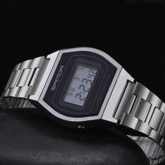 SANDA 406 Digital Watch Men Fashion Stainless Steel Strap Calendar Clock Waterproof Sport Watch