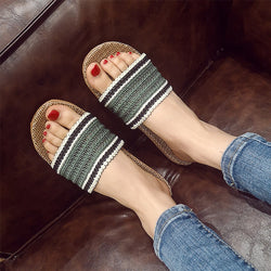 Women Knitted Strap Slip Resistant Open Toe Home Slippers