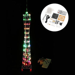 DIY Little Colorful LED Light Cube Canton Tower Suite IR Remote Control Electronic Kit