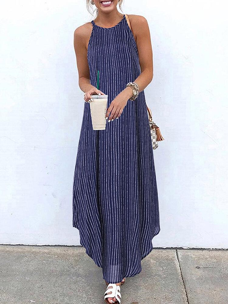 Women Casual Striped Strappy High Low Long Maxi Dress - EY Shopping