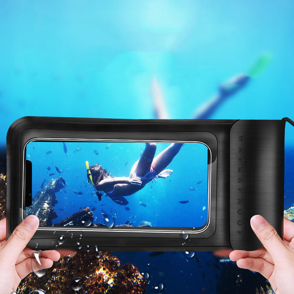 KUULAA IPX8 Waterproof Phone Pouch Screen Touch Underwater Swimming Diving PU+TPU Phone Bag for iPhone Huawei Xiaomi