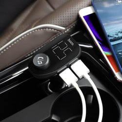 HOCO 3.4A 2 Port LED Didital Display Fast Charging USB Car Bluetooth FM Transmitter Charger For iPhone X XS Huawei P30 Mate 20Pro Xiaomi Mi8 Mi9