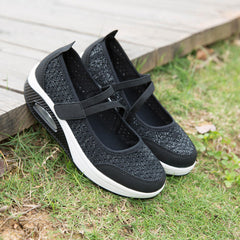 Women Hollow Out Mesh Rocker Sole Hook Loop Sneakers