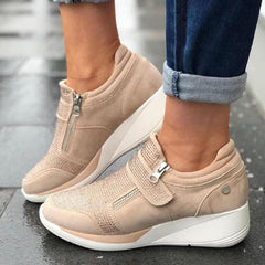 Large Size Women  Mesh Hook Loop Zipper Wedges Casual Sneakers - EY Shopping