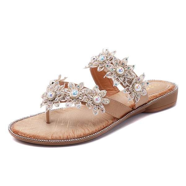 Summer Pearl Flowers Shoes Comfortable Casual Slippers