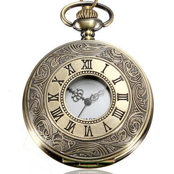 DEFFRUN Vintage Roma Steampunk Quartz Pendant Necklace Women Pocket Watch