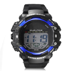 SKMEI 1129 Men Waterproof Sport Army Alarm Date Solar Power Black Wrist Watch Digital Watch