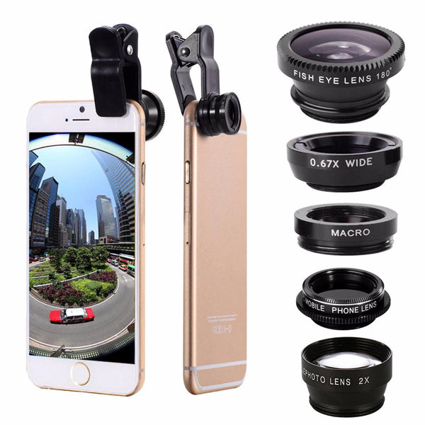 Universal 5 In1 Clip Camera Kit Telephone Lens CPL Fisheye 0.67X Wide Angle 2.0X Telephoto Macro