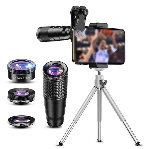 APEXEL 4 in 1 HD Phone Lens Kit Telephoto Zoom Monocular Telescope 22X Lens Macro Wide Fisheye Lens with Tripod