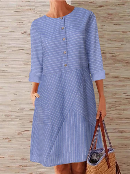 Women Striped Printed Buttoned Down Pockets Dress - EY Shopping