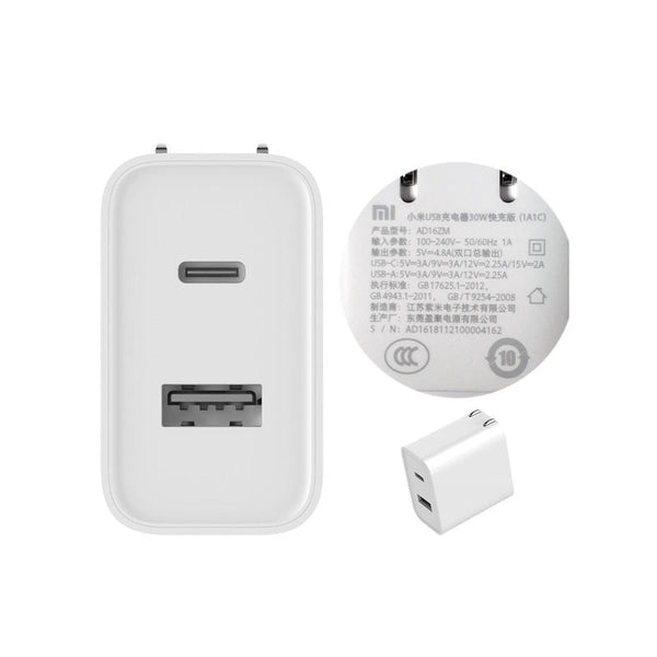 Original Xiaomi 1A1C 30W Max PD QC 3.0 Type-C USB Charger for Xiaomi for Samsung Huawei