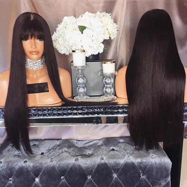 Air Bangs Long Straight Hair Realistic Natural Wig - Black