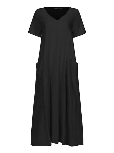 Women Cotton Short Sleeve V-neck Side Pocket Solid Midi Dress - EY Shopping