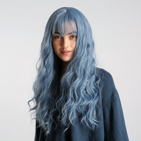 Charming Fluffy Curly Hair Wig High-Temperature Fiber Natural Long Hair Full Wigs Gray Blue